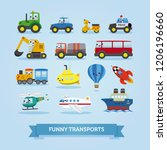 set of cars  vehicles and other ... | Shutterstock .eps vector #1206196660