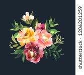 hand drawn watercolor bouquet... | Shutterstock . vector #1206201259