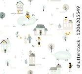 seamless scandinavian pattern... | Shutterstock .eps vector #1206205549