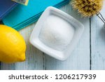 dishwashing tools and citric... | Shutterstock . vector #1206217939