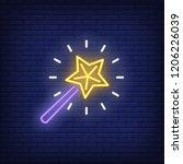 magic wand neon sign. glowing... | Shutterstock .eps vector #1206226039