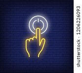 pushing turn on button neon... | Shutterstock .eps vector #1206226093