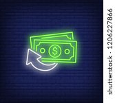 cash back banknotes neon sign.... | Shutterstock .eps vector #1206227866