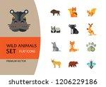 wild animals icon set. bear paw ... | Shutterstock .eps vector #1206229186