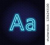 blue neon letters  font on dark ... | Shutterstock .eps vector #1206243100