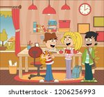 young people in the bedroom.... | Shutterstock .eps vector #1206256993