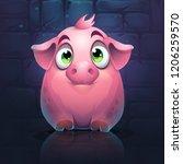 vector cartoon big pig on a... | Shutterstock .eps vector #1206259570