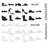 a variety of shoes black icons... | Shutterstock .eps vector #1206261550