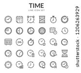 time and clock icons. set line... | Shutterstock .eps vector #1206263929