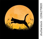 silhouette of cat jumping over... | Shutterstock .eps vector #1206270820