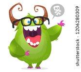 cartoon monster  wearing... | Shutterstock .eps vector #1206280309