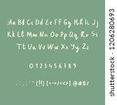 hand drawn alphabet numbers and ... | Shutterstock .eps vector #1206280693
