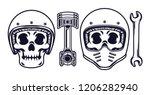 skull wearing a motorcycle... | Shutterstock .eps vector #1206282940