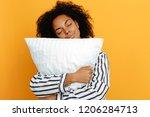 comfort sleeping. dreams. woman ... | Shutterstock . vector #1206284713