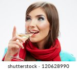 young happy woman with glass.... | Shutterstock . vector #120628990