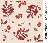 seamless pattern with rowan and ... | Shutterstock .eps vector #1206302470