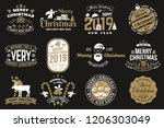 set of merry christmas and 2019 ... | Shutterstock .eps vector #1206303049