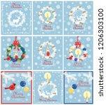 retro pastel blue christmas... | Shutterstock .eps vector #1206303100