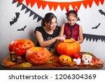 happy halloween  mother and her ... | Shutterstock . vector #1206304369