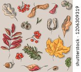 seamless pattern with autumn... | Shutterstock .eps vector #1206309319