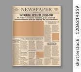 realistic old newspaper front... | Shutterstock .eps vector #1206314359