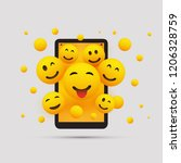 various smiling happy yellow... | Shutterstock .eps vector #1206328759