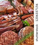 variety of raw meat as a... | Shutterstock . vector #1206337156