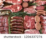 variety of raw meat as a... | Shutterstock . vector #1206337276
