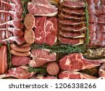 variety of raw meat as a... | Shutterstock . vector #1206338266