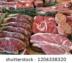 variety of raw meat as a... | Shutterstock . vector #1206338320