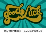 hand sketched good luck t shirt ... | Shutterstock .eps vector #1206340606