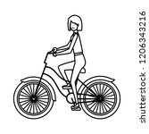 young woman in bicycle character | Shutterstock .eps vector #1206343216
