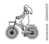 young woman in bicycle character | Shutterstock .eps vector #1206343219