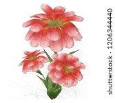 2d illustration. floral... | Shutterstock . vector #1206344440