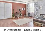 brown living room white and... | Shutterstock . vector #1206345853