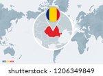 world map centered on america... | Shutterstock . vector #1206349849