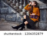 outdoor full body fashion... | Shutterstock . vector #1206352879