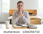 male student concentrating and... | Shutterstock . vector #1206356710