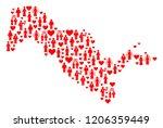 mosaic map of uzbekistan formed ...   Shutterstock .eps vector #1206359449