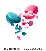 macaroons is torn to pieces in... | Shutterstock . vector #1206368053