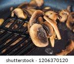 sliced champignon mushroom ...   Shutterstock . vector #1206370120