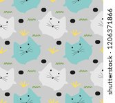 baby cat seamless pattern... | Shutterstock .eps vector #1206371866