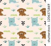 puppy and cat seamless pattern... | Shutterstock .eps vector #1206371869