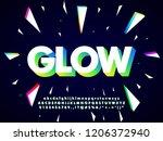 modern neon typeface design... | Shutterstock .eps vector #1206372940
