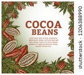 cacao beans plant  vector... | Shutterstock .eps vector #1206388990