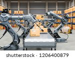 automatic warehouse with... | Shutterstock . vector #1206400879
