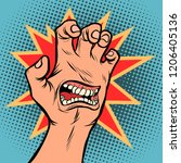 mouth emotion anger hand... | Shutterstock .eps vector #1206405136