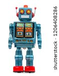 Vintage Tin Robot Toy Isolated...