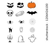 set of halloween isolated icons.... | Shutterstock .eps vector #1206426100