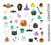 halloween hand drawn vector... | Shutterstock .eps vector #1206437539